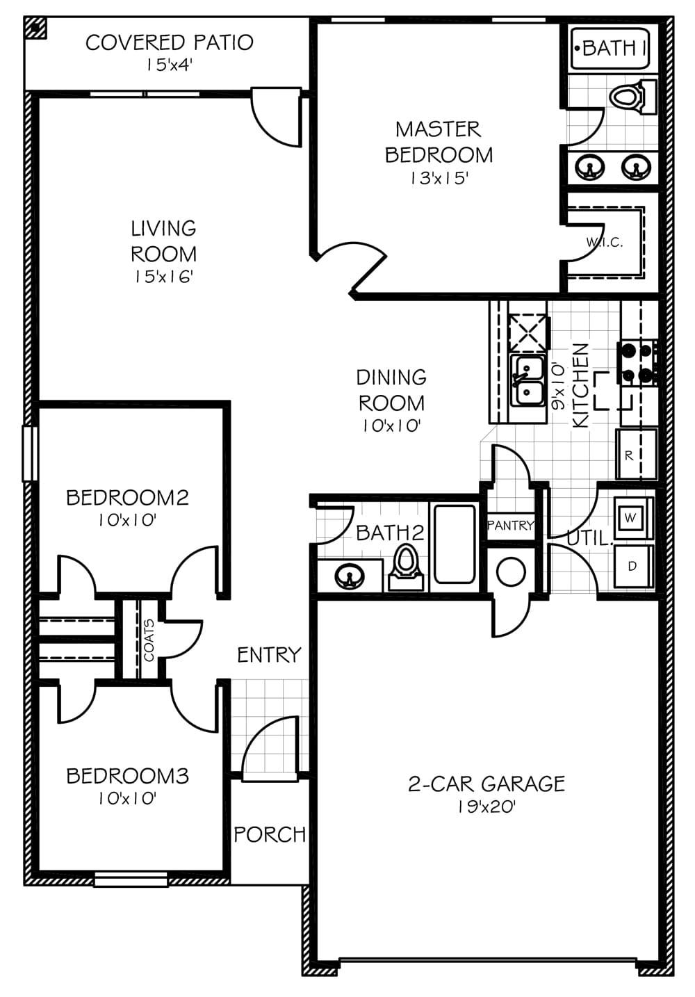 Juniper Floor Plan Part - 24: Juniper Oklahoma Home Floorplan